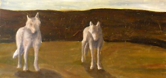 Two White Wolves by Kay Hale
