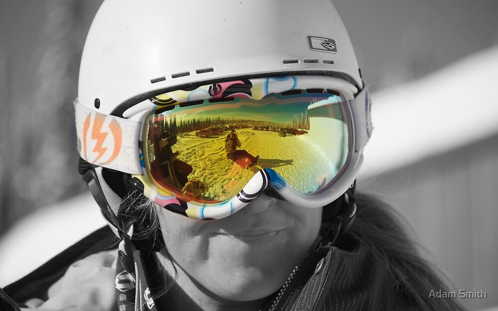 Sunshine through goggles - big white ski resort by Adam Smith