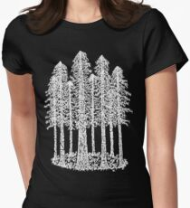Coastal Redwoods Cathedral Ring Sketch - White Women's Fitted T-Shirt