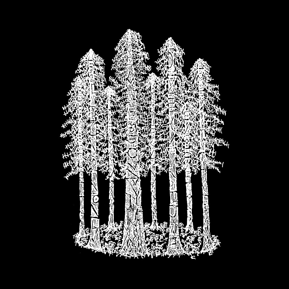 Coastal Redwoods Cathedral Ring Sketch - White by Hinterlund