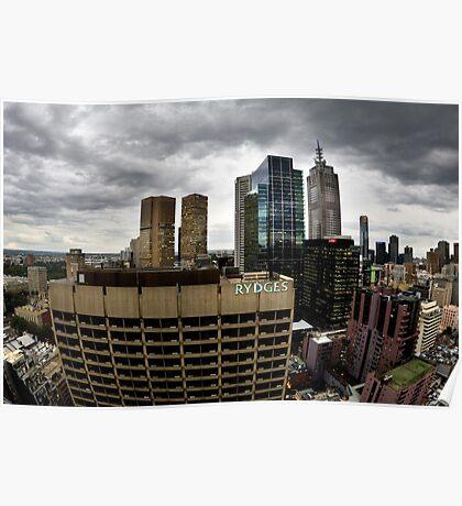 Stormy Melbourne Skyline Poster