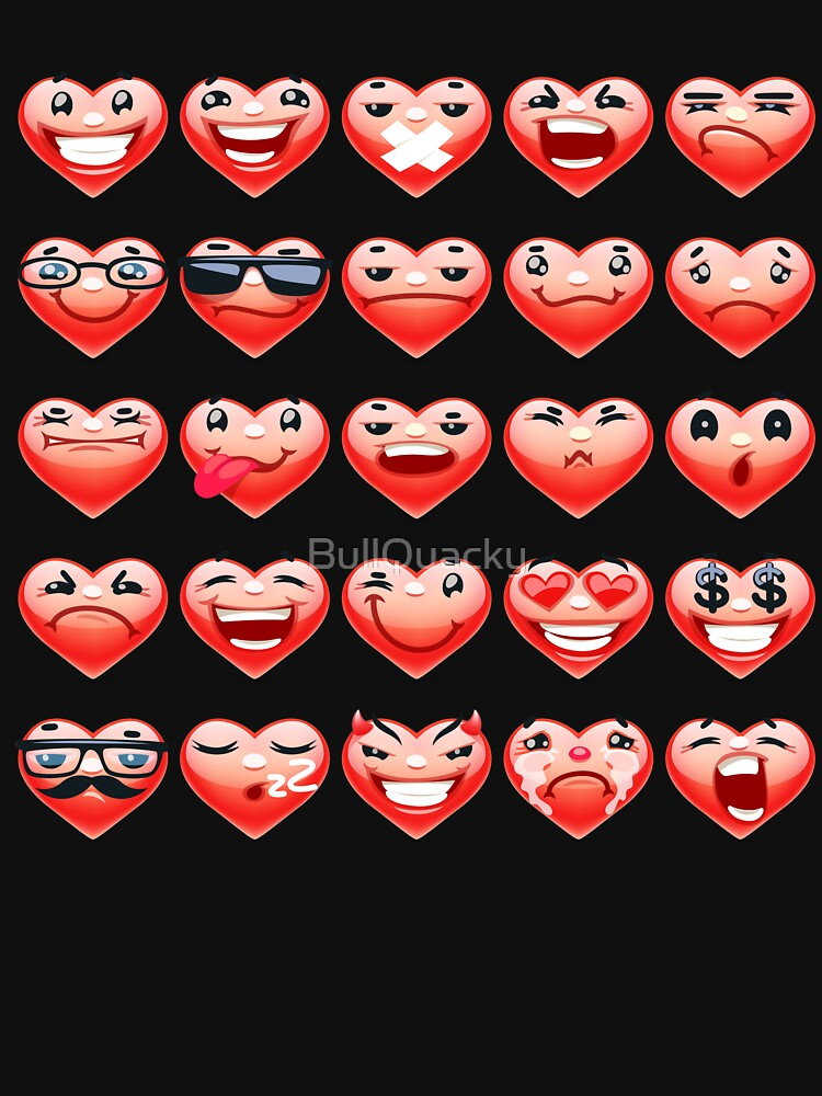 Valentine Heart Emotions Icons - Cute Valentines Day Cartoon - Happy Angry Cool Nerd Silly Sad Evil - Hearts by BullQuacky