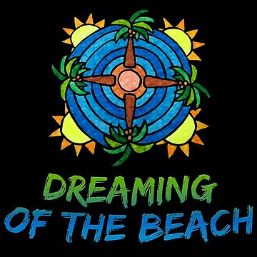 Dreaming of the Beach - Tropical Mandala Style Drawing by gorff