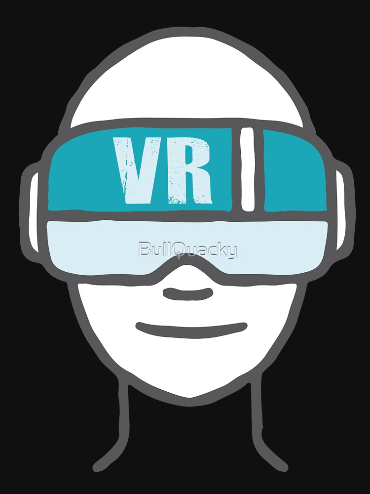 VR Headset Cartoon Drawing - Virtual Reality Lover - Fantasy Player by BullQuacky