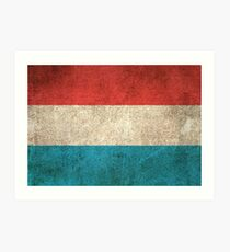 Old and Worn Distressed Vintage Flag of Luxembourg Art Print