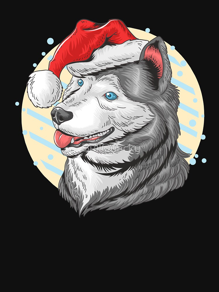 Wolf Cartoon Wearing Christmas Santa Claus Hat by BullQuacky