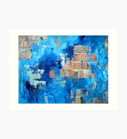 Behind the blue painted wall Art Print