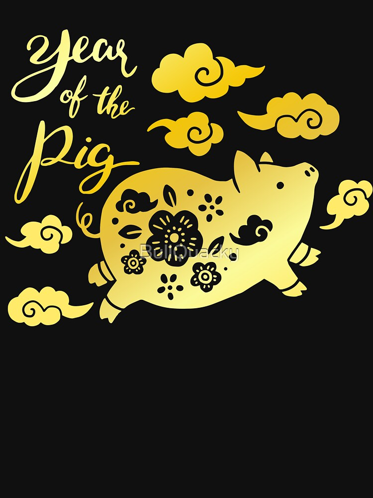 Year of The Pig - Happy Chinese New Year Celebration Flying Pig Clouds by BullQuacky