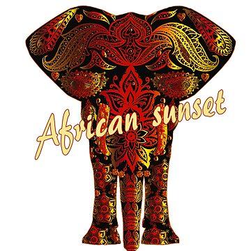Afrikanischer Elefant und Sonnenuntergang - Rottöne von eCom-Media