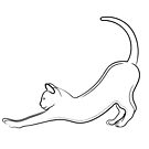 Cat Stretching Line Drawing by Adam Regester
