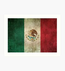 Old and Worn Distressed Vintage Flag of Mexico Art Print
