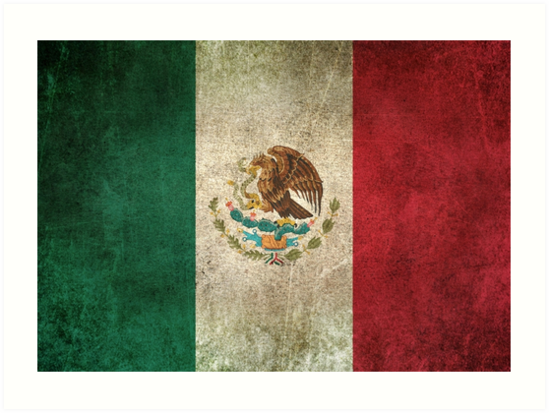 Old and Worn Distressed Vintage Flag of Mexico by jeff bartels