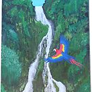 Waterfall Macaw by bubblepacific
