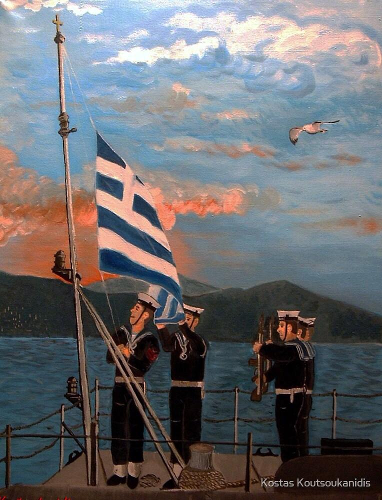 Sailors raising the flag by Kostas Koutsoukanidis