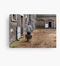 Man pulling a wheelbarrow Canvas Print