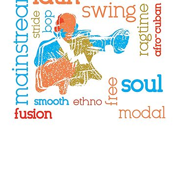 Colorful Jazz Trumpet Player With Jazz Genres by jazzworldquest