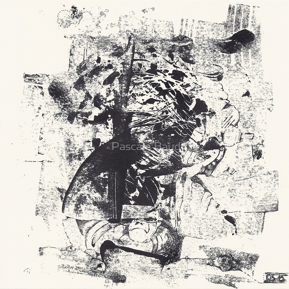 Monkey Dream #1 - Series of 5 Monotypes - by Pascale Baud