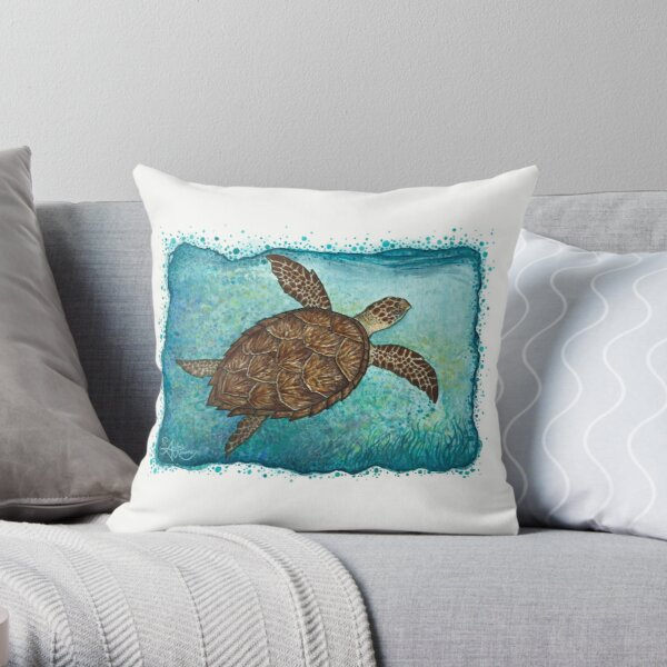 """Hawksbill Sea Turtle"" by Amber Marine ~ Watercolor painting, art © 2016 Throw Pillow"