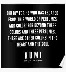 Rumi Zitat | Oh! Freude für den, der aus dieser Welt der Düfte und Farben entkommen ist! Poster