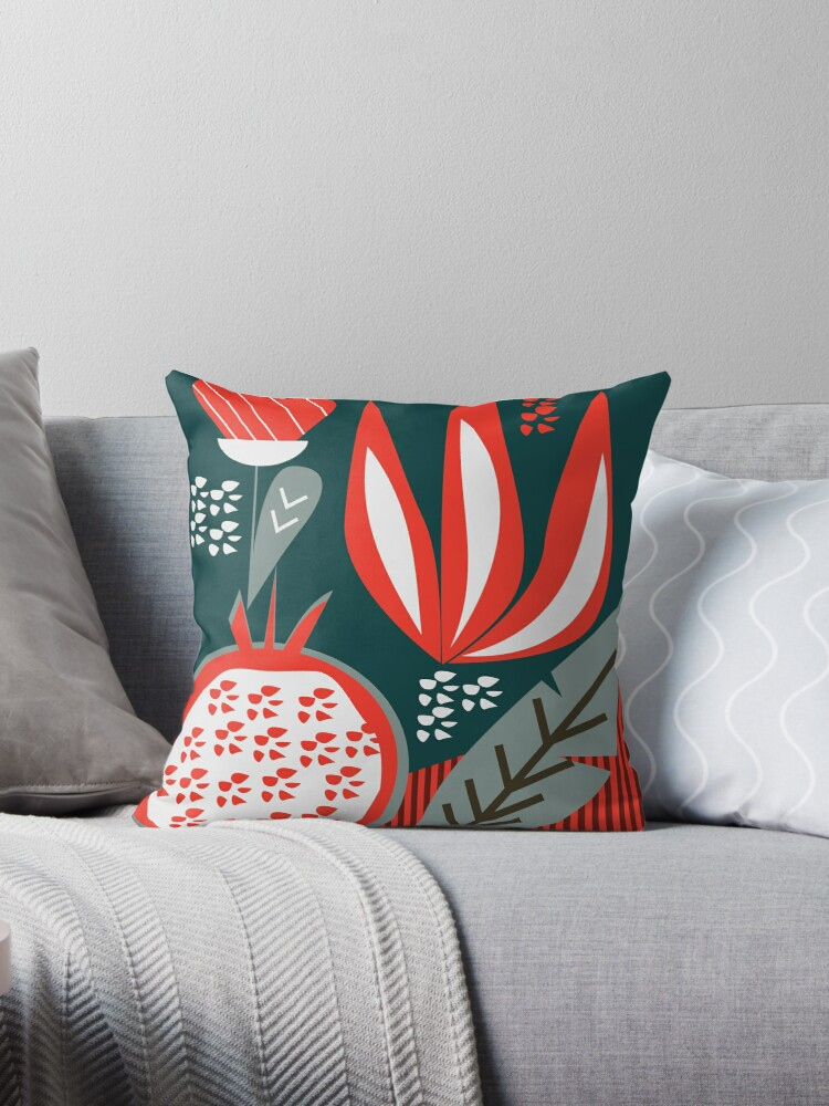 \'Pomegranate - contemporary \' Throw Pillow by cocodes