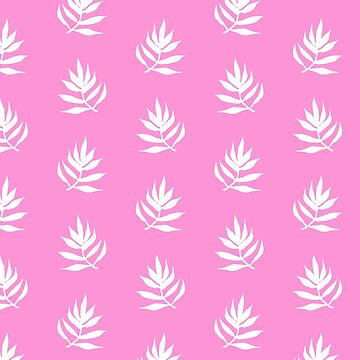 White Palm Leaves on Pink Background by marketastengl