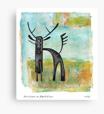 Moose Contraption Near Waterfall Landscape Canvas Print