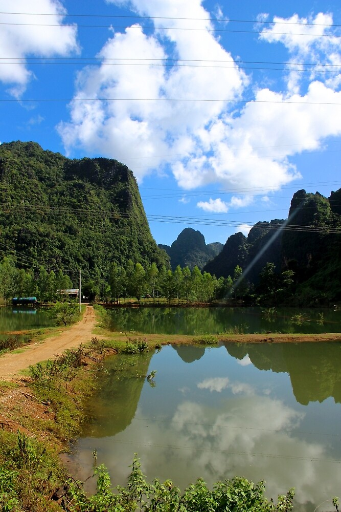 Reflections of Green and Blue - Thakhek, Laos. by Tiffany Lenoir