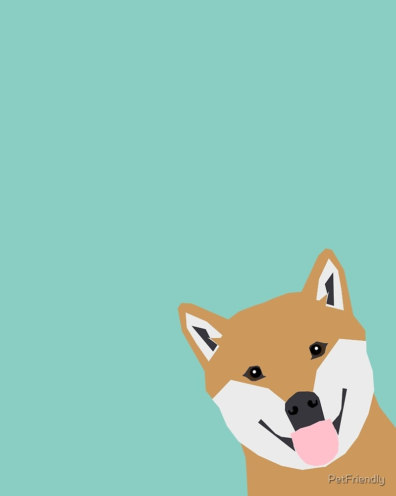 Shiba Inu Peek - cute shiba doge peeking funny dog art print mint turquoise customizable dog gift by PetFriendly