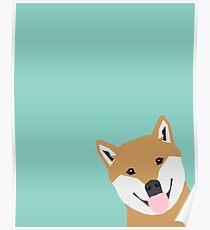 Shiba Inu Peek - cute shiba doge peeking funny dog art print mint turquoise customizable dog gift Poster