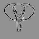 Elephant Portrait Line Drawing by Adam Regester