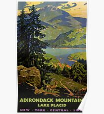 Adirondack Mountains Lake Placid Vintage Poster Restored Poster