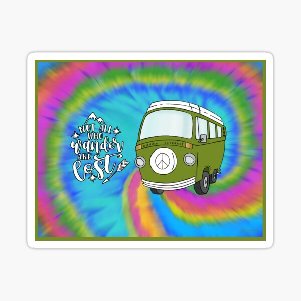 VW Peace Bus Not All Who Wander Are Lost Sticker