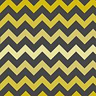 Mustard Gradient Chevron on Gray by TimorousEclectc