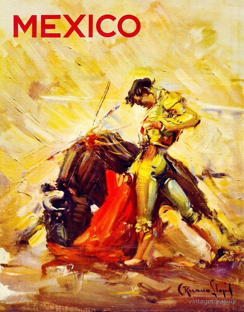 Mexico Bull Fighter Vintage Poster Restored by vintagetreasure