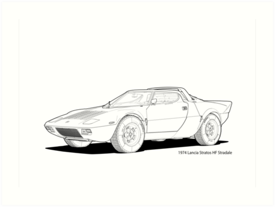 Lancia Stratos HF Stradale Line Illustration by DigitalCel