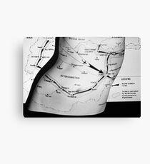 Body Maps - Afghanistan Routes - Torso Canvas Print