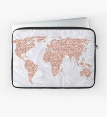 Rose Gold Glitter World Map auf weißem Marmor Laptoptasche