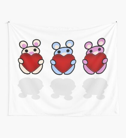 Three Chibis: Hearts Wall Tapestry