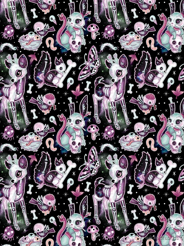 Kawaii Dead Cute Collection in der schwarzen Galaxie von wickedfabrics