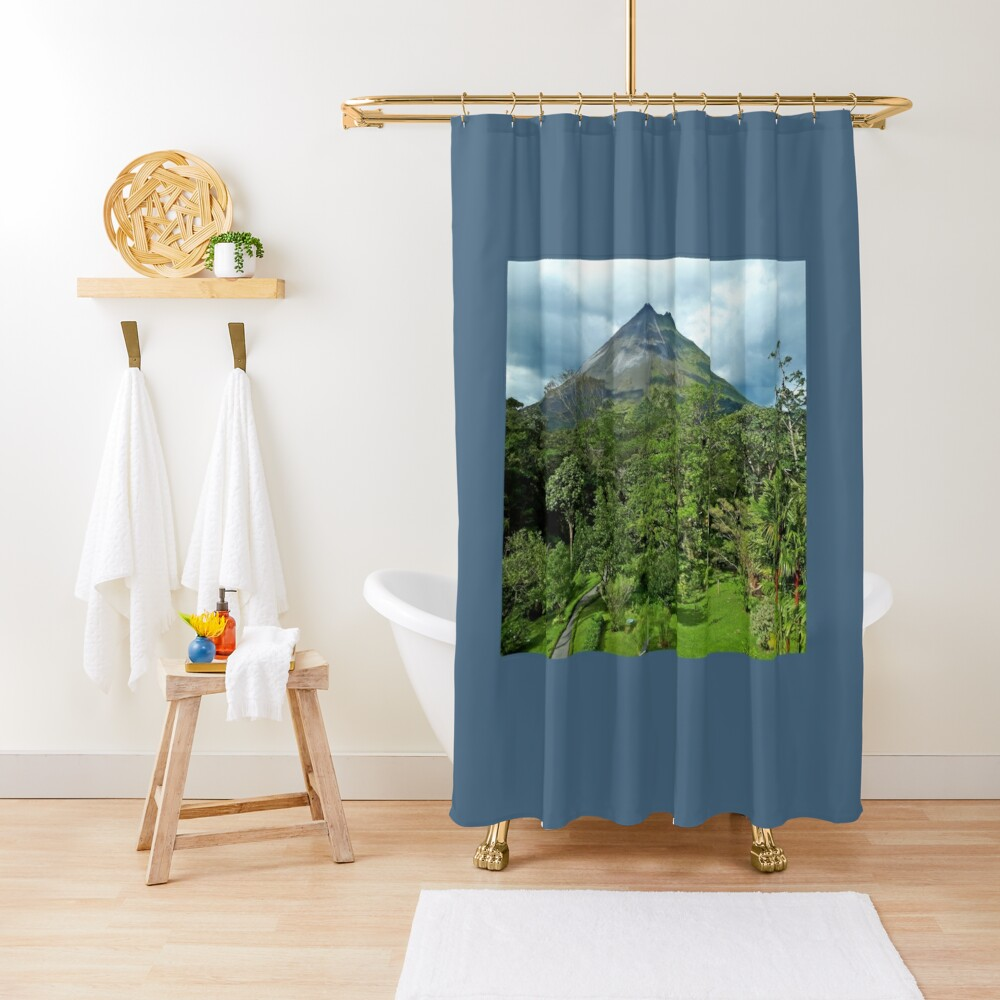 Arenal Volcano Garden View Shower Curtain