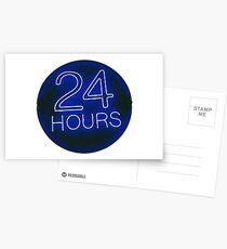 24 hrs blue Postcards