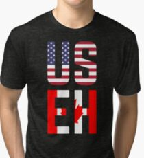 USEH America Canada Flag Funny American Canadian Tri-blend T-Shirt