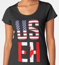 USEH Amerika Kanada Flagge lustige amerikanische Kanadier Premium Rundhals-Shirt