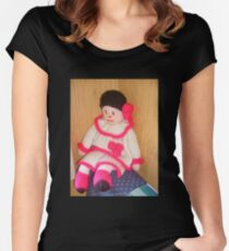 Doll with pink socks Women's Fitted Scoop T-Shirt