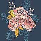 Moody Florals - Coral + Blue by latheandquill