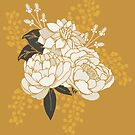 White + Gold Florals by latheandquill