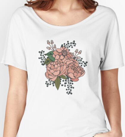 Moody Florals - Coral Women's Relaxed Fit T-Shirt