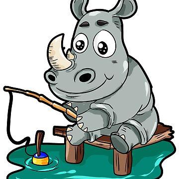 Fishing Rhino Rhinoceros Fisher Cartoon Gift Comic by Moonpie90