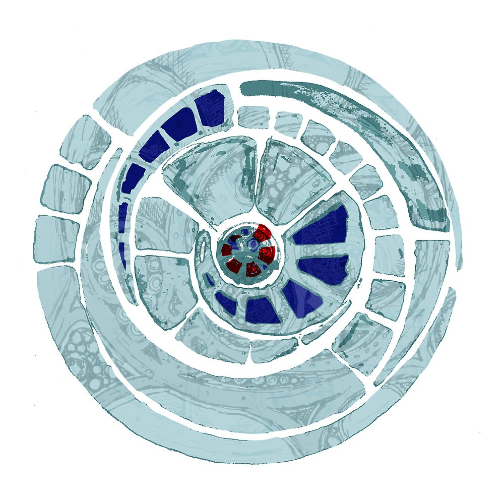 the blue spiral cog by Agnew & Roberts