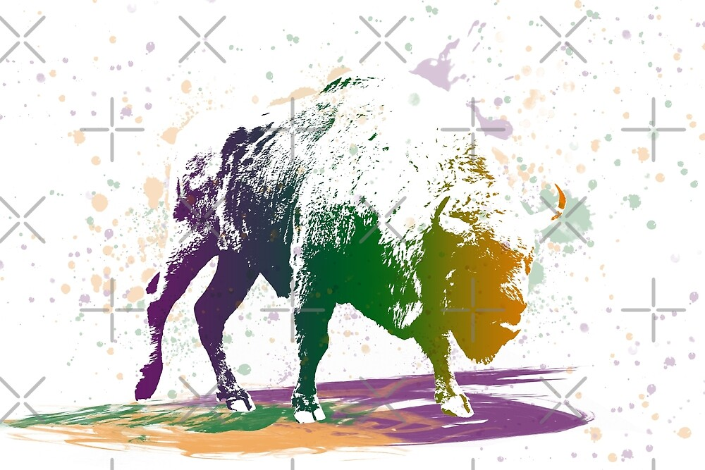 Bison in a colour storm by SiobhanFraser